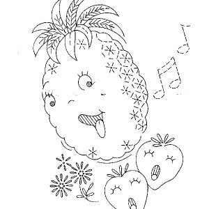 Cute Pineapple Singing A Song Coloring Page