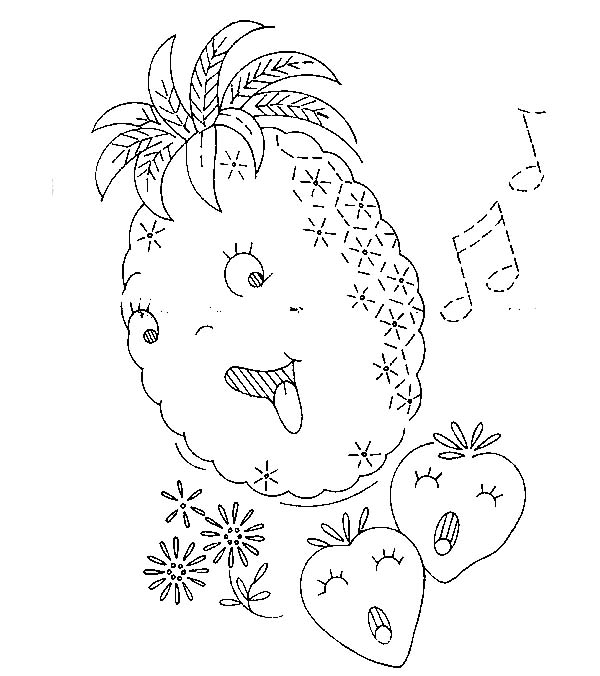 Cute Pineapple Singing A Song Coloring