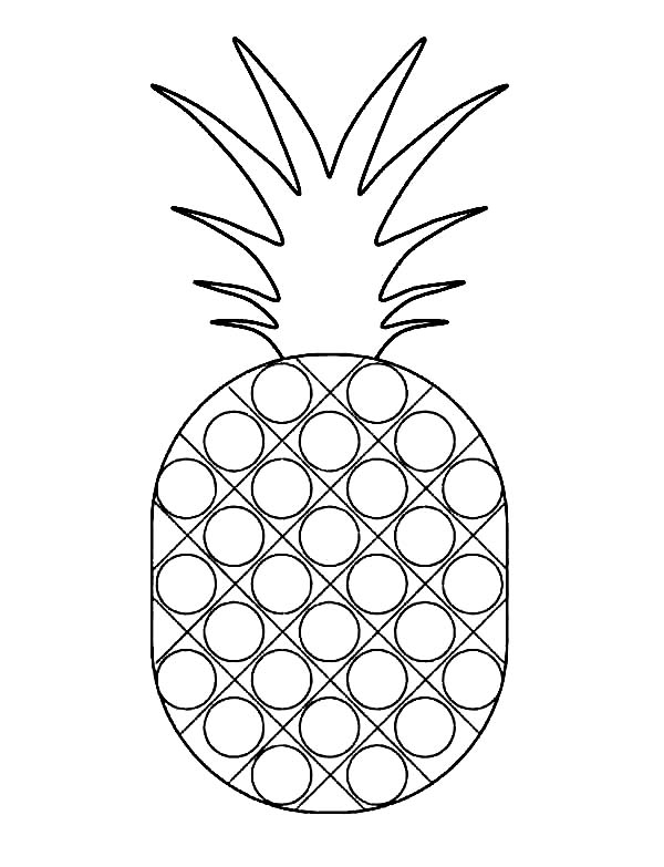 Dotted Pattern Pineapple Coloring Page - Download & Print ...