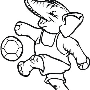 Even An Elephant Playing Soccer Too Coloring Page