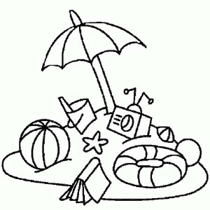 Everything You Need On Beach Vacation Coloring Page
