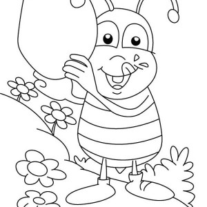 Fat Bumblebee With A Big Jar Of Honey Coloring Page