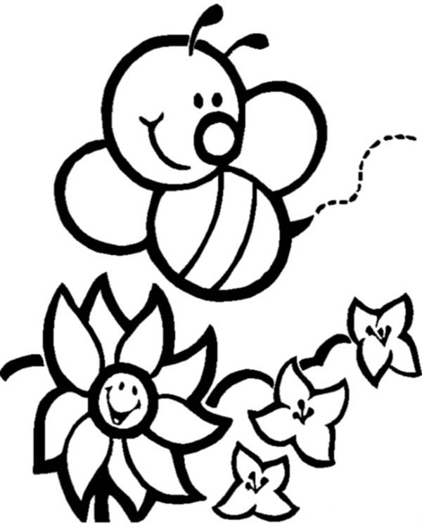 Happy Bumblebee And Flowers Coloring Page - Download ...