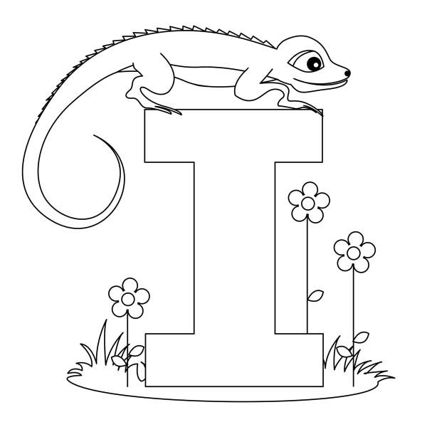 I Letter For Iguana Coloring Page   Download & Print Online
