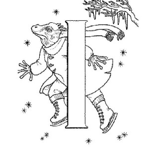 Iguana Ice Skating Coloring Page