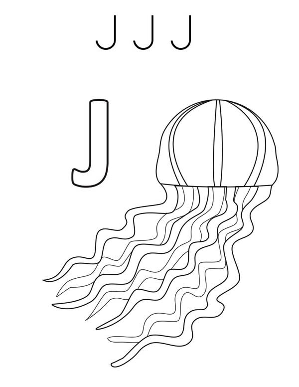 J Jellyfish Coloring Page Download