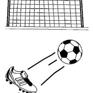 Kicking The Ball To Make A Goal In Soccer Game Coloring Page