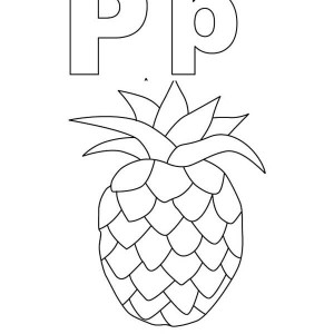 Learn Letter P For Pineapple Coloring Page