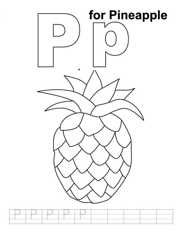 Learn Letter P For Pineapple Coloring Page Download