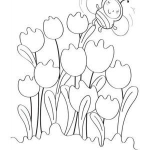 Little Baby Bumblebee Flying Around The Tulips Coloring Page