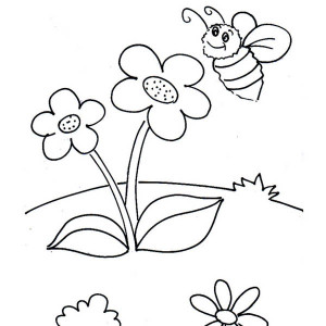 Little Bumblebee And Two Flowers Coloring Page
