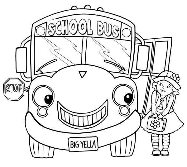 - Little Girl And School Bus On First Day Of School Coloring Page - Download  & Print Online Coloring Pages For Free Color Nimbus