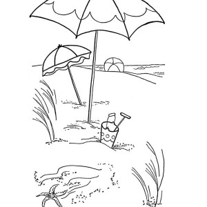 Lovely Beach Umbrella On A Sandy Beach Coloring Page