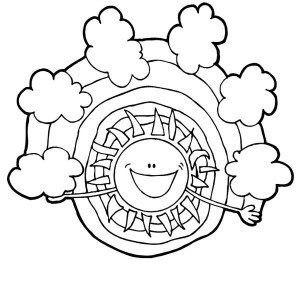 Meet My Friend Rainbow Say The Sun Coloring Page