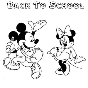 Mickey And Minnie On First Day Of School Coloring Page