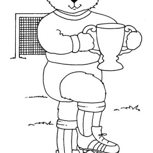 Mr Bear And His Trophy After Soccer Competition Coloring Page
