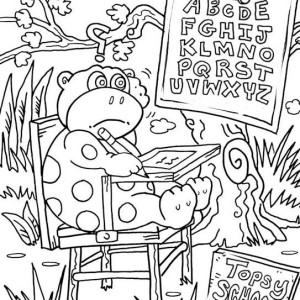 Mr Monkey Getting Anxious On His First Day Of School Coloring Page