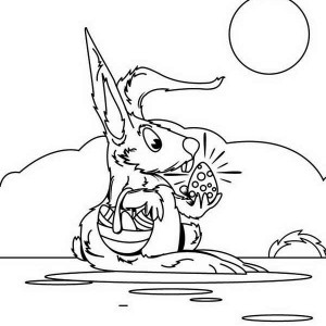 Mrs Bunny With Her Easter Basket Coloring Page