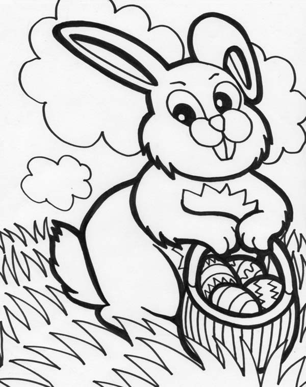 Mrs Bunny With A Basket Of Easter Eggs Coloring Page ...