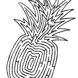 Pineapple In Jigsaw Pattern Coloring Page