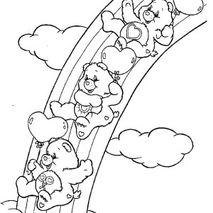 Rainbow Care Bears Playing Slides Together Coloring Page