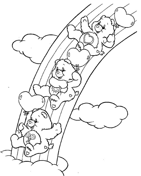 Rainbow Care Bears Playing Slides