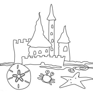 Simple Drawing Of Beach Castle Coloring Page