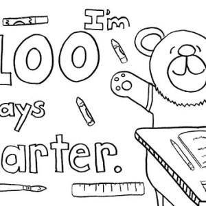 Smart Little Bear For First Day Of School Coloring Page