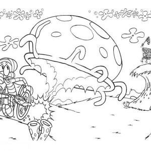 Squidward Running From Giant Jellyfish Coloring Page