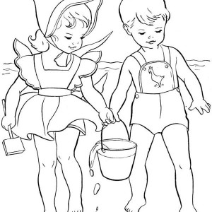 Take A Sea Water To Watering The Sand Castle Coloring Page