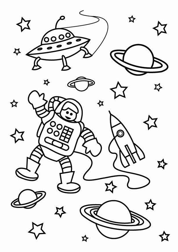 The Astronaut On The Outer Space Mission Coloring Page ...