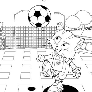 The Cat Playing Soccer In The Park Coloring Page