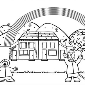 These Two Guys Cheering The Coming Rainbow Coloring Page