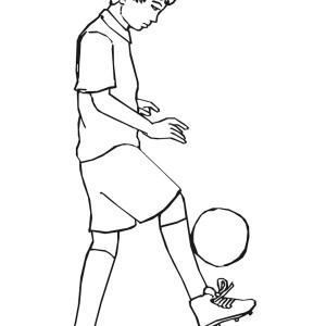 This Boy Practising His Ball Handling For Next Soccer Game Coloring Page