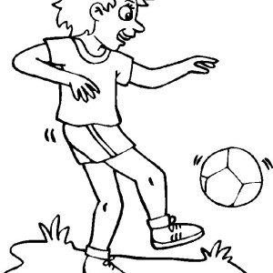 This Girl Is Practising Her Ball Handling For Soccer Game Coloring Page