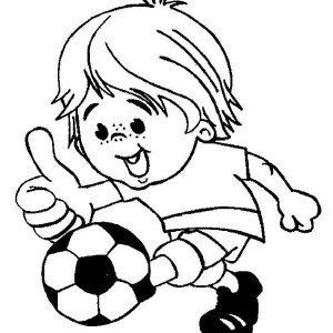 This Little Boy Is Playing Soccer Happily Coloring Page