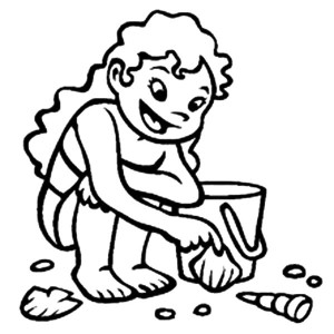This Little Girl Collecting Seashells From The Beach Sand Coloring Page
