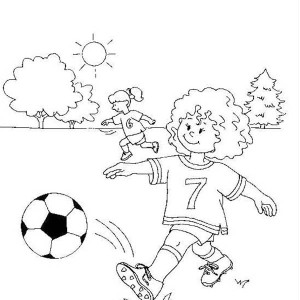 This Little Girl Making A Short Pass On Soccer Game Coloring Page