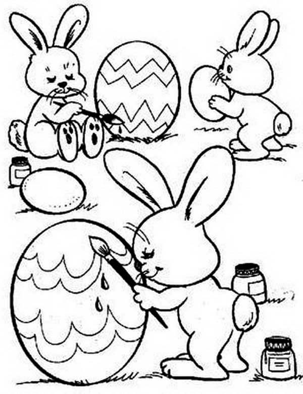 Three Cute Bunnies Decorating An Easter Eggs Coloring Page ...