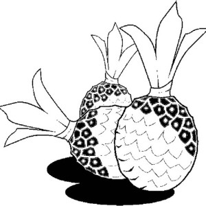 Three Rounded Tropical Pineapple Coloring Page