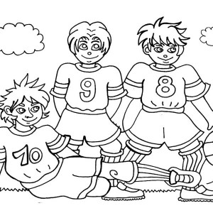 Three Soccer Player Making A Team Pose Before The Game Coloring Page