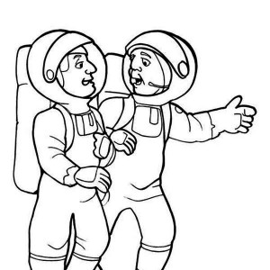 Two Astronauts Preparing For The Moon Project Coloring Page