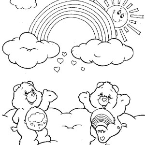 Two Care Bears Cheering The Rainbow Coloring Page