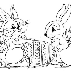 Two Easter Bunnies With An Easter Egg Coloring Page