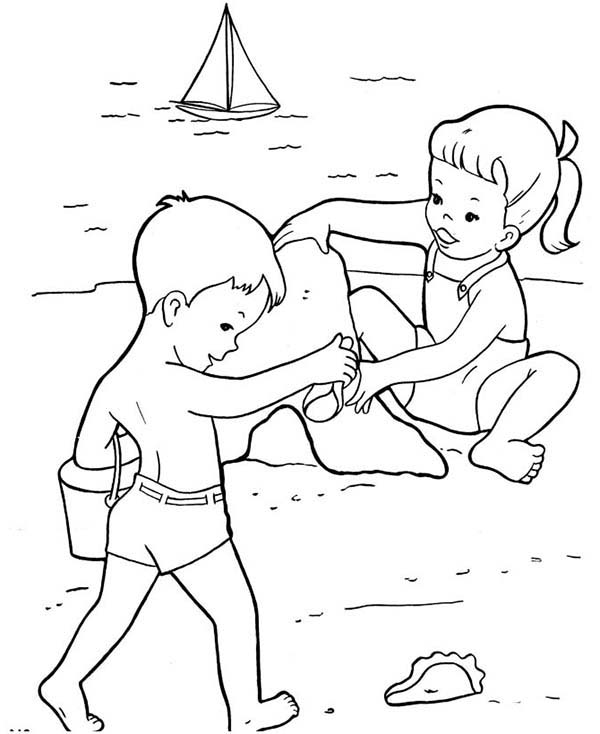 Two Kids Build Sand Castle Together Coloring Page ...