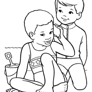 Two Kids Playing With The Beach Sand Coloring Page