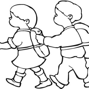 Two Kids Walking Together On First Day Of School Coloring Page
