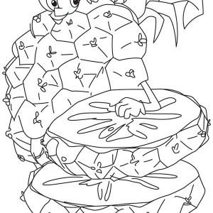 Two Slice Of Fresh Tropical Pineapple Coloring Page