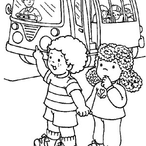 Two Students Stopping The School Bus On First Day Of School Coloring Page