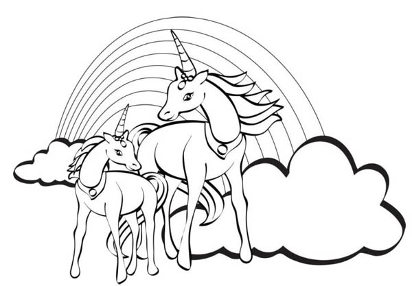Two Unicorn With A Rainbow At Their Back Coloring Page ...